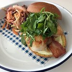 Delicious scallop and bacon brioche roll and tasty pulled pork tacos.