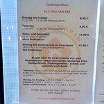 Price list in window
