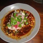 Pork pozole, with greens, corn, special sauce. Wonderful!