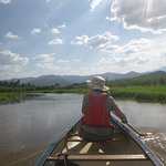 Kayaking along the river
