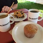 coffee and scone and muffin -- yummy