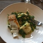 My birthday lunch: Pan Seared Halibut with cockles, mash, peas and samphire.