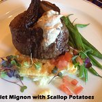 Filet Mignon w/ truffle potato puree, haricots verts, roasted tomatoes, shallot confit, steak bu