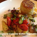 Maryland Style Crab Cake with black eyed pea, asparagus and tomato salad w/ feta cheese