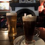 Our pint and Irish coffee