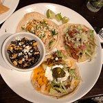 Taco Trio: grilled shrimp, taco americano, taco tinga.