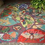 This is a lovely mural on the ground at the Bat Hospital entrance.