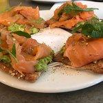 Smoked salmon on avocado toast