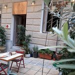 Dining out in our courtyard,  in front of the lovely pedestrian street, Dervenion 4a