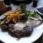 Rib-eye steak with Portobello mushroom sauce