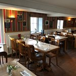 Nine tables seating 34 in the dining area. But you can eat in the main pub area too!