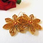 "Paper quiiling ""golden flowers"" earrings"