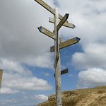 Direction post with distances