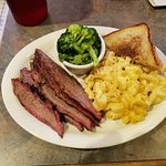 Brisket with mac & cheese, texas toasts, and vegetable of the day