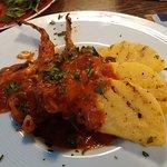 Monkfish with polenta