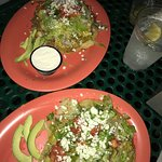 Pork and beef sopes with green chile sauce