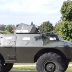 Military Police tactical vehicle, V-100 with twin machine guns.