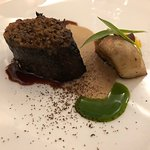 Venison saddle roasted with dried porcini mushrooms, toasted walnuts and laurel extract
