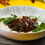 Slow cooked Beef cheeks in sherry reduction