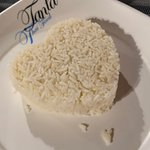 Rice might be in a heart shape but unfortunate dry and taste less
