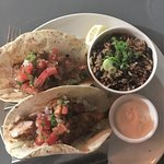 Blackened mahi mahi fish tacos with black beans/rice combo