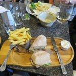 Steak Ciabatta and chips at The Ship Inn