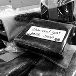 Local Amish made charcoal goat milk soap at the Amish Heritage Welcome Center gift shop.