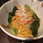 Lobster sofrito with noodles, Asian greens, curry coconut milk, and chili