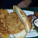 Fish Sandwich with homemade potato chips and slaw