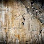 Rock climber ascending El Capitan