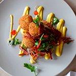 salt cod fritters with  spanish chorizo