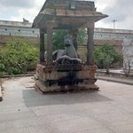 The large Nandhi in front of the 12 linga shrine