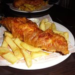 Fish chips and Tartatr sauce - normally not keen on Tartare Sauce but this was delicious.