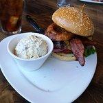 Burger and potato salad.