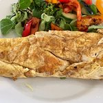 Cheese & Onion Omelette with Salad drizzled in Balsamic