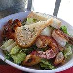Caesar salad with wood roasted prawns