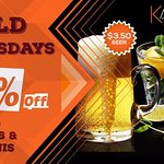 Wild Wednesdays  $3.50 beers $5.00 wells and 50% off selected Mojitos/ Martinis
