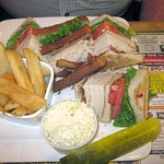 Turkey Club Sandwich w/ Fries & Slaw