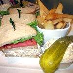 Chicken Salad Club w/ Fries & Slaw