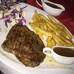 Ribeye steak and pepper sauce