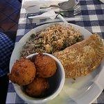 crawfish pie, hushpuppies