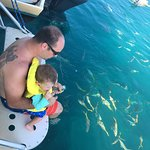 Daddy and little man watching while others are snorkeling near by
