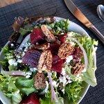 Surf and turf, beet salad and creme brulee