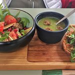 Lunch special - salad, soup and quiche