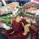 Chicken clubhouse with root vegetable chips