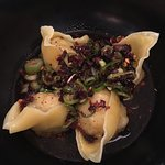 Prawn & chicken dumplings, chilli & vinegar sauce