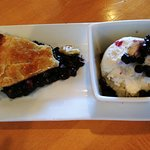 Yummy Blueberry Pie and vanilla ice cream