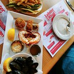 Island Blue Mussels (not steamed with any seasoning), Lobster Tails & Crab Cakes