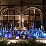 outside of the Biltmore with Chihuly art