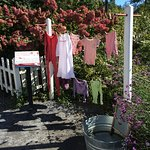 """the children's area with props from the story """"Rosebud and Red Flannel"""""""